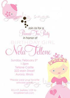 Princess Tea Party Birthday DIGITAL FILE  Print by joylizsage, $15.00   Side note... Is it a sign that this invitation has her imaginary friend's name on it?? Tea Party Birthday, 3rd Birthday, Birthday Ideas, Princess Tea Party, Princess Birthday, Party Signs, Party Invitations, Invitation Wording, Party Planning