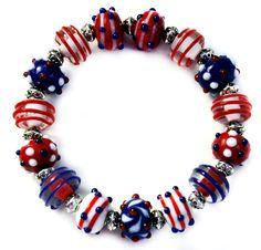 Red, White & Blue Spiral & Dot Lampwork Beads