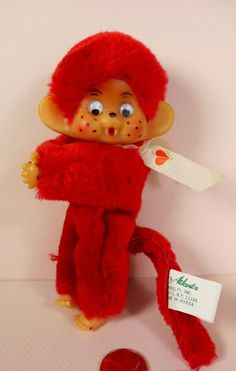 Vintage 1970s Christmas plush red monkey clip-on ornament! made in Korea