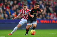 Manchester United midfielder Ander Herrera attempts to take the ball away from Stoke's Marco van Ginkel (right) Manchester United, Stoke City Fc, Wayne Rooney, Premier League, The Unit, Football, Running, Sport, Wordpress
