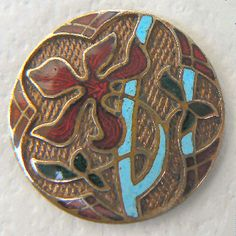 "Floral champleve (faux cloisonne) textured background gilt brass antique enamel button. Med. bit over 7/8"" (23mm). $22.00"
