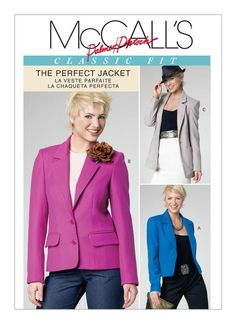 McCall's Misses' Lined Jackets in 3 Lengths Pattern Size Blazer Pattern, Jacket Pattern, Mccalls Sewing Patterns, Pattern Sewing, C 18, Line Jackets, Lining Fabric, Vest Jacket, Fabric Design
