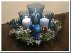 Christmas Blue Red Green Or Silver Maybe Centerpieces