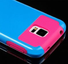 myLife (TM) Deep Sky Blue and Hot Pink - Free Flex Series (2 Layer Neo Hybrid) Slim Armor Case for the NEW Galaxy S5 (5G) Smartphone by Sams...