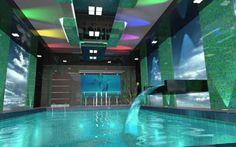 Amazing Indoor Pools Design for Great House: Cool Indoor Pool Design with Aquatic Aquarium