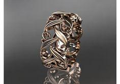 14kt rose gold diamond leaf and vine wedding ring,engagement ring,wedding band ADLR49 - TheWeddingMile.com