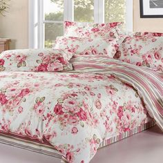 Floral princess pink bedding sets,100%cotton girl full queen king nordic rustic home textiles,bed sheets pillow case quilt cover