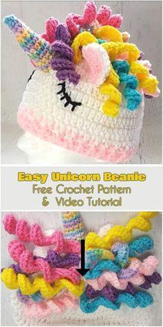 Easy Unicorn Beanie [Free Crochet Pattern and Video Tutorial] Cute and Colourful Crochet Unicorn Hat. Crochet Kids Hats, Crochet Gifts, Easy Crochet, Funny Crochet, Crocheted Hats, Crochet Clothes, Crochet Unicorn Hat, Crochet Beanie, Crotchet