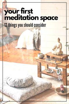 Meditation Musik, Meditation Corner, Meditation Space, Zen Room Decor, Meditation Room Decor, Relaxation Room, Wall Decor, Home Yoga Room, Decoration