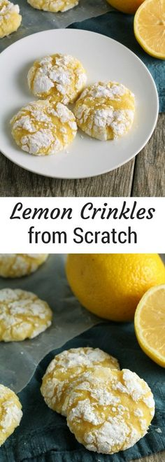 Lemon Crinkle Cookies ~ this classic easy cookie recipe is a perfect lemon dessert for all you lemon lovers out there! Lemon Crinkle Cookies ~ this classic easy cookie recipe is a perfect lemon dessert for all you lemon lovers out there! Cookie Recipes From Scratch, Recipe From Scratch, Best Cookie Recipes, Dessert From Scratch, Dessert Simple, Easy Desserts, Dessert Recipes, Desserts With Lemon, Vegan Desserts