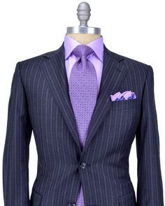 Canali Charcoal with Chalk Stripe Suit