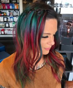 Muted Red, Green Hair Color
