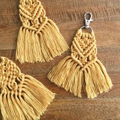 golden yellow macramé keychain | READY TO SHIP | 100% cotton string | silver swivel clip | keys + accessories | rope | tassel | fringe by BusyBreeDesign on Etsy https://www.etsy.com/listing/606245123/golden-yellow-macrame-keychain-o-ready
