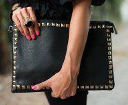Big black studded clutch