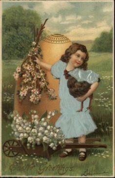EASTER Little Girl REAL SILK WOVEN DRESS GIANT EGG Langsdorf c1910 Postcard (12/22/2012)