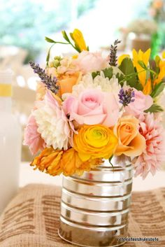 Pretty DIY tin can flower arrangement - for wedding bridal shower anniversary party