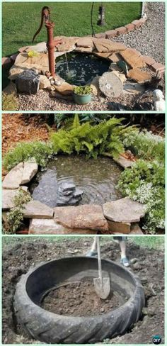 DIY Tire Pond Instruction - DIY Fountain Landscaping Ideas