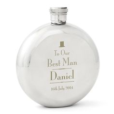 Personalised best man hip flask. Perfect as a wedding token to say thanks to your best man or ushers. Personalise this hip flask with a name and the date of the wedding. A great keepsake for your guests on your special wedding day, and a great way to commemorate the ceremony.