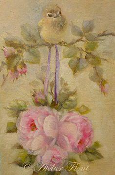 A baby bird & tea rose wedding ball - Original painting Helen Flont ..♥..Nims..♥