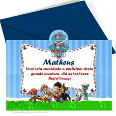 "Convite Patrulha Canina para meninos mod:902 Paw Patrol Printable invitation ( 7""x4"" )"