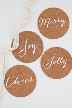 DIY Holiday Cork Coasters made with the Cricut Explore -- Sewbon. #DesignSpaceStar Round 4