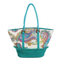 Teal Paisley Jute Tote Bag from Blossom Boutique by Evergreen Enterprises (www.myevergreen.com)