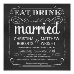 "Chalkboard Eat Drink be Married Invitations 5.25"" Square Invitation Card"