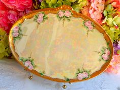 Beautiful  Limoges Hand Painted Artist Signed Plate Tray ~ Floral ~ Roses ~ Gold #Limoges