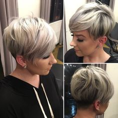 Sassy Undercut Pixie with Bangs Modern short pixie cuts are never cut evenly. Shaved sections can border on extra long pieces while being topped with mid-length spikes. Add a trendy blonde shade…More Edgy Pixie Cuts, Best Pixie Cuts, Asymmetrical Pixie Cuts, Short Cuts, Short Hair Cuts For Women Edgy, Short Inverted Bob, Short Fine Hair, Choppy Pixie Cut, Asymmetrical Hairstyles