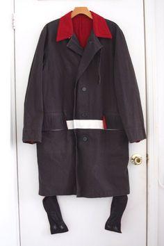 Unique Helmut Lang 1997 Navy Overcoat w Paint Stripe Bondage Straps 46 | eBay