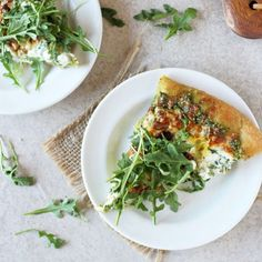 Arugula pesto pizza with herbed ricotta. Fresh, simple and perfect for summer!