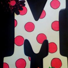 Wooden M initial with white background and hot pink polka dots outlined in black!!!! Perfect for bedroom doors or etc.