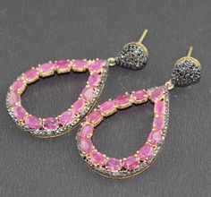 AAA 1 Pair 925 Sterling Silver Natural Pave Diamond Ruby