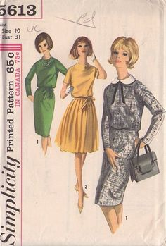 MOMSPatterns Vintage Sewing Patterns - Simplicity 5613 Vintage 60's Sewing Pattern SAUCY Mad Men Daytime Secretary Jewel Neck Dress, Detachable Collar, Sheath or Knife Pleats Skirt