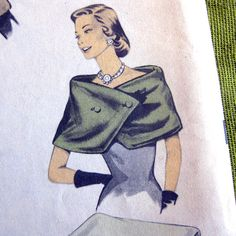 1950s Advance Sewing Pattern Cape, Wrap, Stoles Beret Clutch Handbag / New Fur…