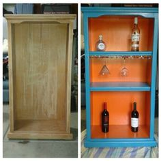 Old bookcase into a mini bar!
