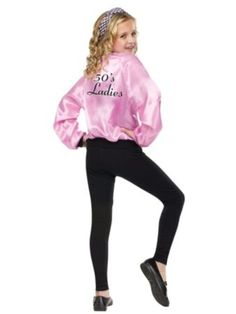Pink Ladies Satin Jacket Costume | Wholesale 50s Costumes for Girls