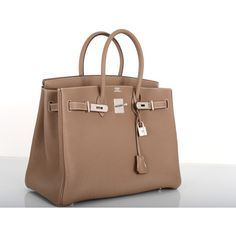 Hermes Birkin Bag Etoupe 35CM Togo Palladium JaneFinds (1.239.870 RUB) ❤ liked on Polyvore featuring bags, handbags, genuine leather purse, hermes bag, 100 leather handbags, leather purses and real leather purses
