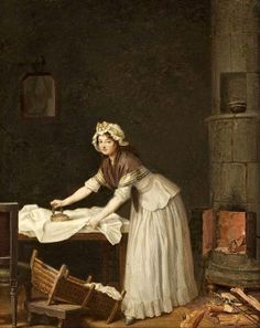 """A woman who irons"" (1795) by Pehr Hilleström"