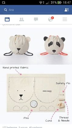Patron sac enfant - kid's drawstring backback bag kits - every second month they will add a new kit with a stylish and unique design Chick Chack Sewing Tutorials, Sewing Hacks, Sewing Patterns, Sewing Kit, Fabric Crafts, Sewing Crafts, Sewing Projects, Diy Projects, Sewing For Kids
