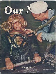 Vintage OUR NAVY - September 1944 - Salvage Diver - Winnie from Waikiki