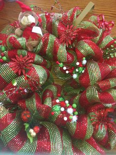 Red and lime green wreath