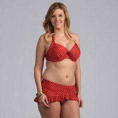 Jantzen Women's Polka-dot Halter Plus Size Bikini with Ruffle Skirted Bottom
