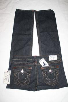 $200 True Religion Straight Leg Jeans with Flaps Dark Wash Colored Stitching 31 #TrueReligion #StraightLeg