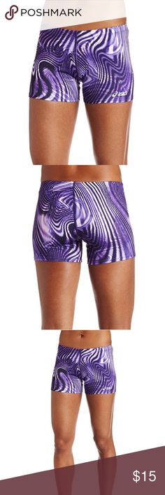 Asics liquid metal running shorts small Asics liquid metal running shorts in purple. They have a fun design and are in excellent shape! Size small. 92% polyester 8% spandex. made in the USA. Asics Shorts