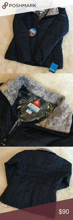NWT DownJacket New and never worn! Navy blue down Columbia jacket. Omni Heat insides with a nice shimmer, and a warm faux fur collar. 100% polyester. Get ready for Fall and Winter! Columbia Jackets & Coats Puffers
