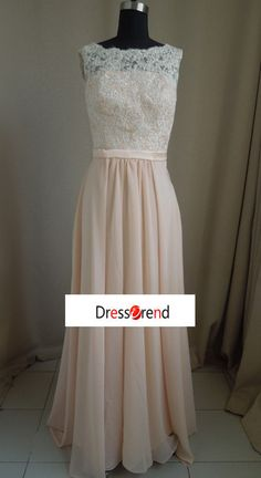 Long lace Champagne Bridesmaid Dress Long Prom by DressTrend