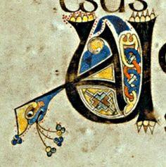 "Book of Kells illuminated manuscript, initial letter ""U"""