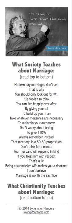 Rethinking society's messages about marriage... this is one instance in which backwards thinking makes the best sense!