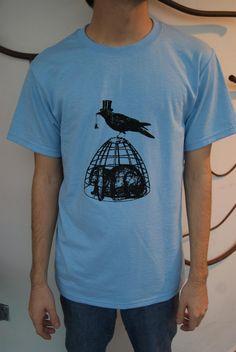 Screenprint Shirt  Vintage Caged Bunny Rabbit & by SamsaraPrints, $15.00